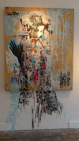 Untitled, 2011, acrylic paint, screen Print, spray paint, ink on wood. By UK graffiti artist Hush. East Meets West in Hush's Klimt-esque 'Twin' Series.