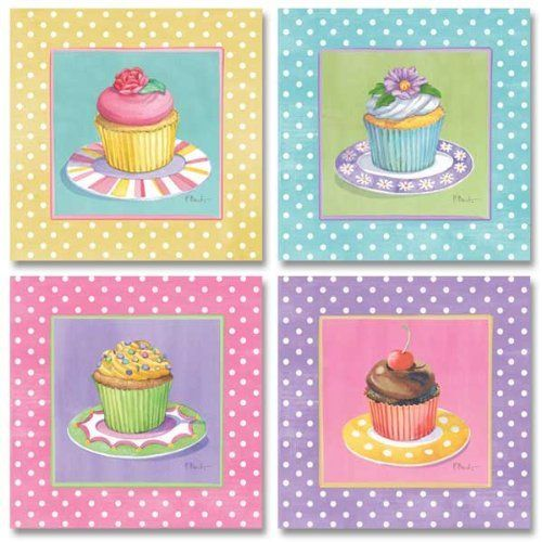 WallsThatSpeak 4 Cute Colorful Cupcakes Art Prints Pastel Baking Kitchen Decor Paul Brent, 8 by 8-Inch, Pink/Yellow/Blue/Lavender Pastels