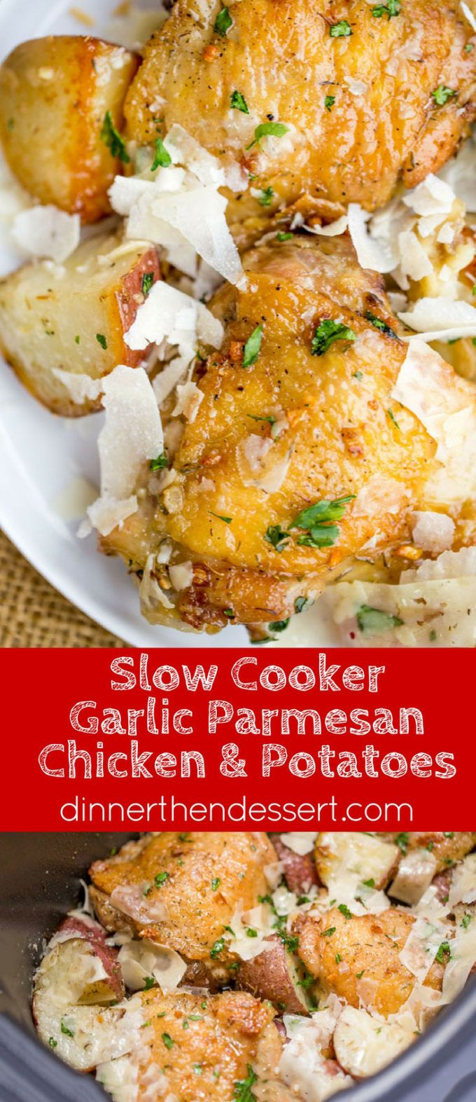 Slow Cooker Garlic Parmesan Chicken and Potatoes takes just a few minutes of prep and five ingredients. Crisp chicken thighs, buttery red potatoes and shaved Parmesan cheese make the perfect easy weeknight meal.