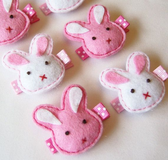 Puffy Bunny Felt Hair Clip - Pick 1 Hot Pink or White - cute Easter felt bunny clippies - Holiday hair bows
