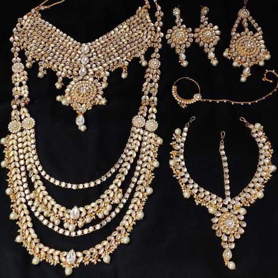 Traditional Indian Bridal Jewelry Set Indian Bridal Set Indian Bridal Jewelry In Gold Colour Set Of 8 Haram In 2020 Bridal Jewelry Sets Bridal Jewellery Indian Indian Bridal Jewelry Sets