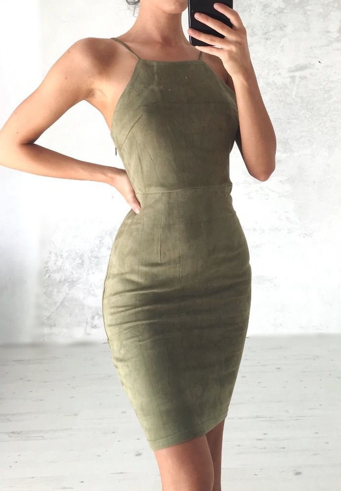 Suede Dress. This would be cute with nude shoes and a beige duster!