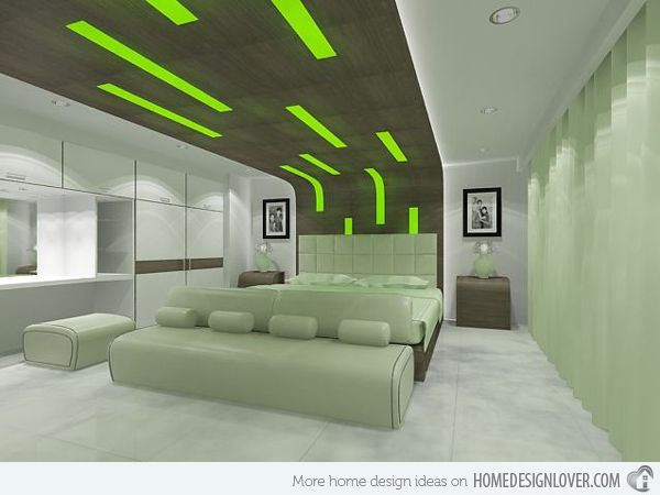 Green Bedroom, can do with glow in dark paint on ceiling.