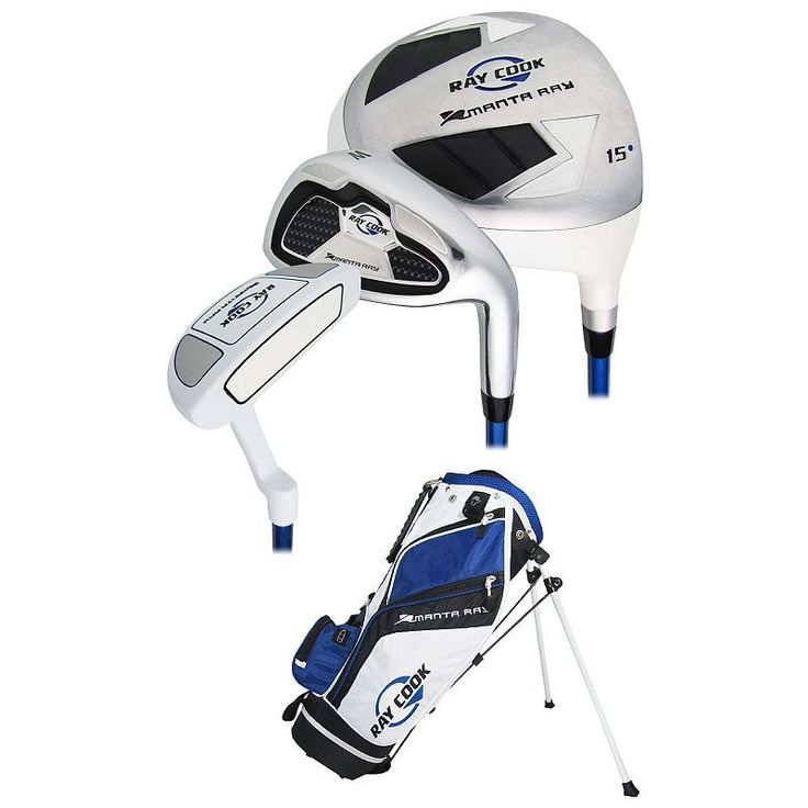 Youth Ray Cook Manta Ray Junior 5-Piece Golf Club & Stand Bag Set, Blue