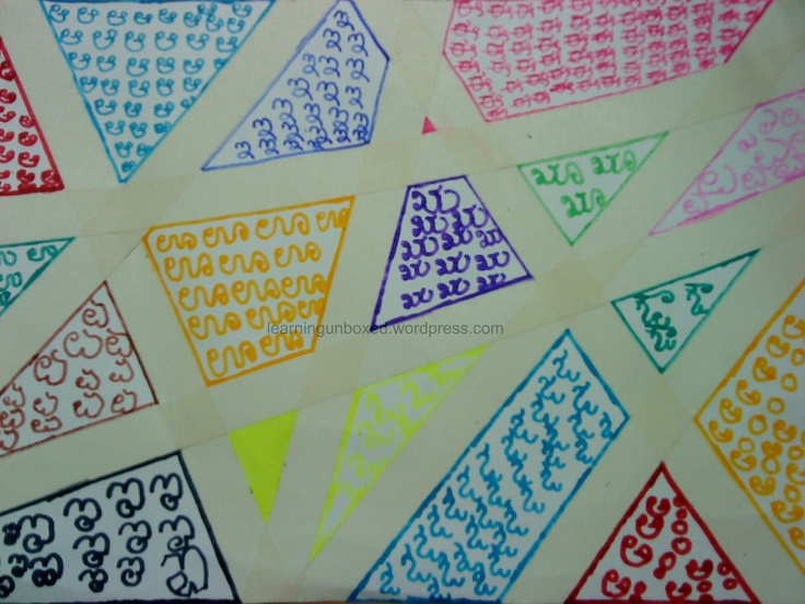 Kannada Alphabets In Tape Resist Art Writing Skills Arts And Crafts Crafts