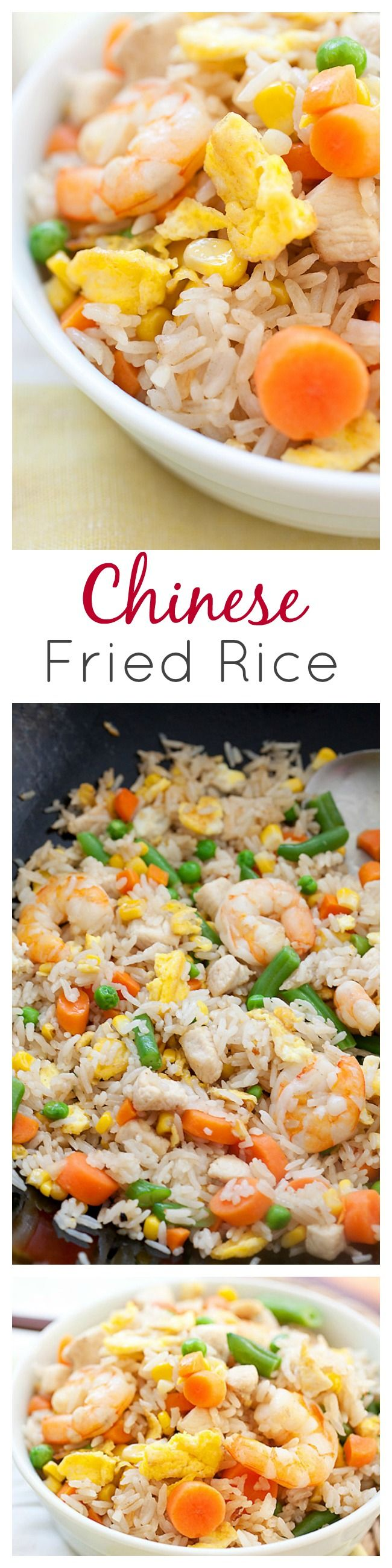 Fried Rice is a popular Chinese food. Easy fried rice recipe with rice, eggs, chicken, shrimp and tastes so much better than Chinese takeout | rasamalaysia.com