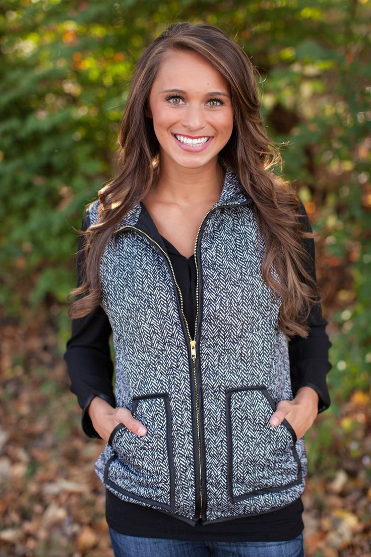 The Pink Lily Boutique - Designer Inspired Herringbone Vest, $60.00 (http://www.thepinklilyboutique.com/designer-inspired-herringbone-vest/)
