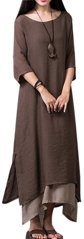US$16.89 Gracila Layered Split Solid Half Sleeve Vintage Elegant Women Dress