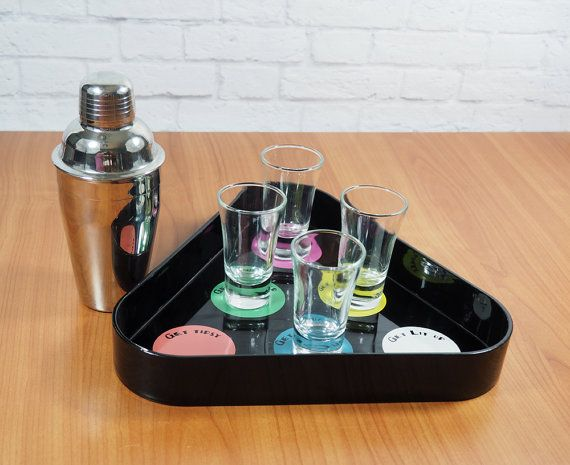 Retro Billiards Pool Ball Cocktail Tray by FireflyVintageHome