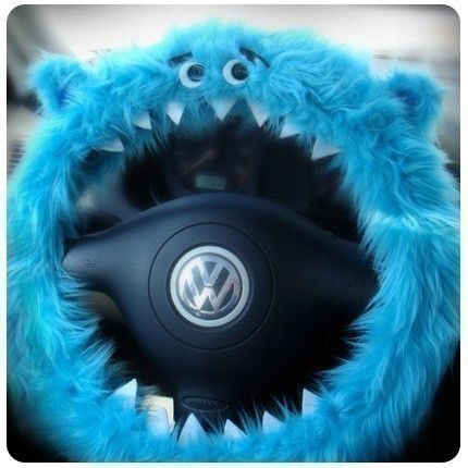 Blue Furry Fuzzy Monster Steering Wheel