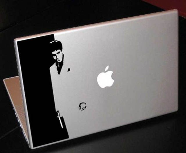 """Creative and Funny MacBook Stickers  """"Scarface MacBook Decal/Sticker""""   #stickerontario #stickerscanada #stickers #funnystickers #stickerprinting #customstickers"""