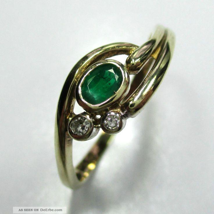 526 - Zierlicher Ring Aus Gold 333 Mit Smaragd Und Diamanten - - - Video - 1585 - Ringe Bild