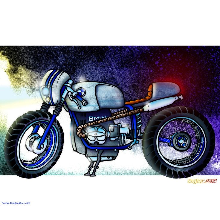 BMW Cafe Racer  http://www.redbubble.com/people/howyadoin/calendars/13088352-bikes #motorcycle #caferacer #motorcycleart