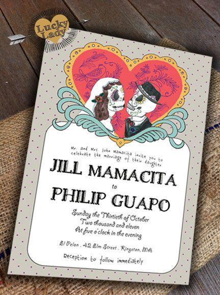 Exceptionnel SAMPLE Customizable Cute Day Of The Dead Celebration Sugar Skull Día De Los  Muertos Wedding Invitation