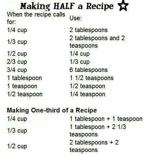 Making Half a Recipe by culinaryconfessional: A handy chart for halving and third-ing your recipes. #Infographic #Cooking #Recipe_Calculator