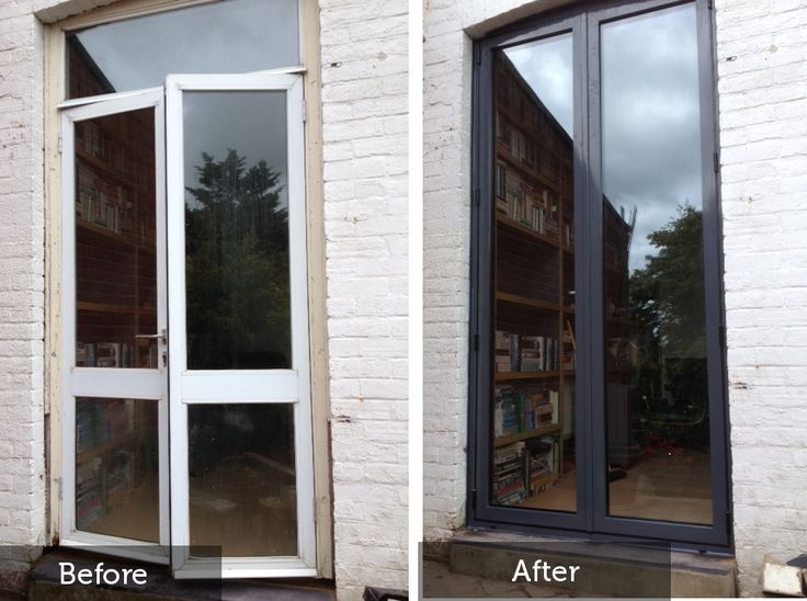 replacement french doors as seen before and after