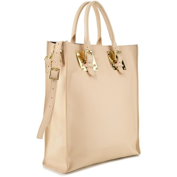 Sophie Hulme Nude Soft Buckle Tote ($905) ❤ liked on Polyvore