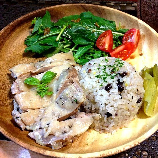 昨夜は肉の日にちなんで、噂の炊飯器deシンガポールチキンライス! 今キテるローカルフードのニュースタンダードよ♪♪ - 12件のもぐもぐ - 十八穀米シンガポールチキンライス & バルサミコソースのルッコラ サラダ by Remy