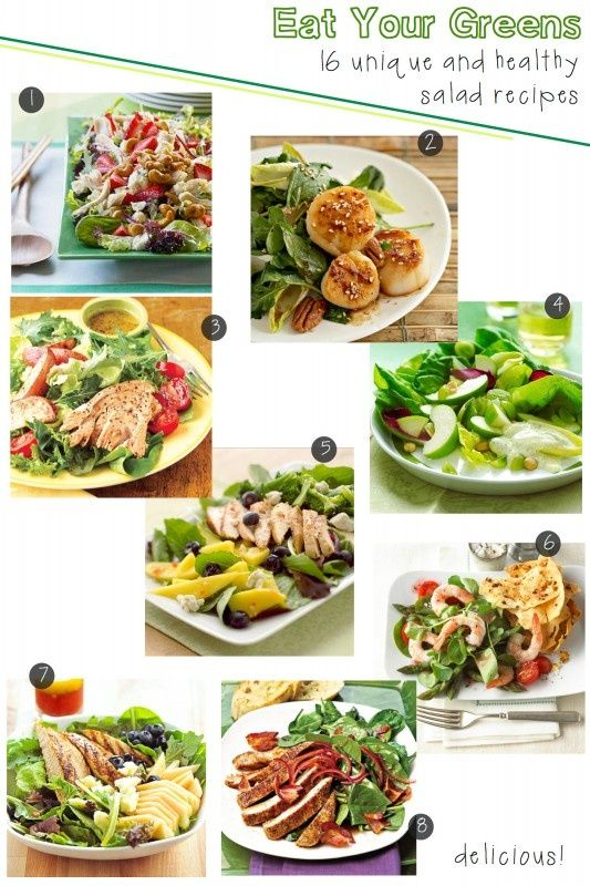 Eat Your Greens - 16 unique and healthy salad recipes from BHGs Delish Dish. Find all the amazing recipes here: . .PS: I follow u back