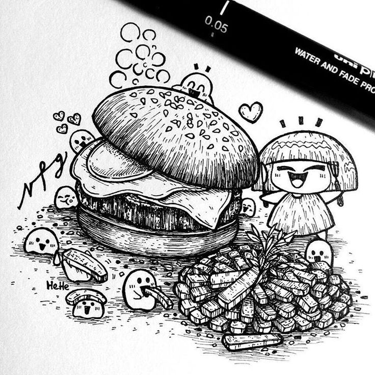 "Weekend is over, I am happy that I spend few hours of free time to draw something that I love    ""Burger and Fries""   Hello Monday !"