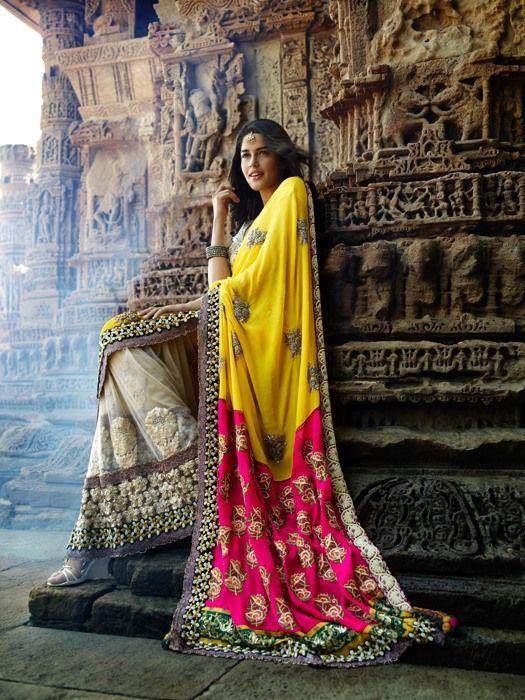 Yellow pink beige sari
