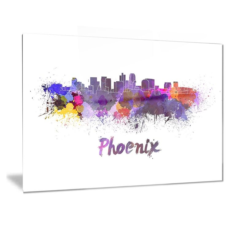 Designart 'Phoenix Skyline' Cityscape Metal Wall Art