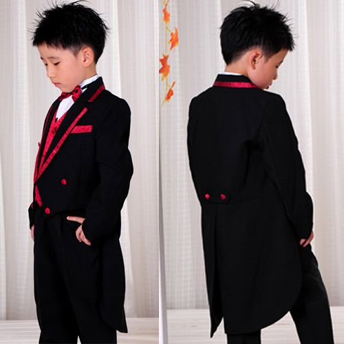 6 Piece Black Red Tail Tuxedos Tuxedo  Dress Suits Clothing Boy ring barer