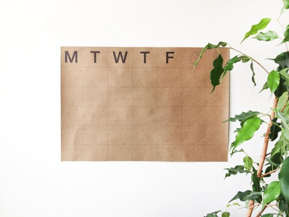 Kraft paper wall calendar, large, recycled, no expiration, kraft paper, simple, minimal, 13x19
