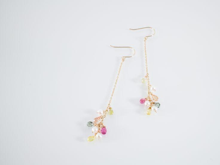 *k10yg sapphire pearl pierced earrings