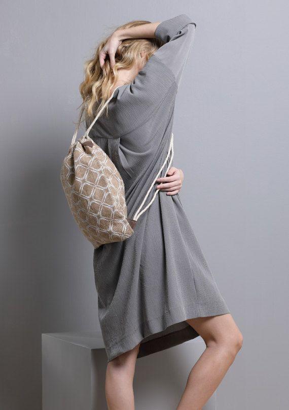 Yoga Bag Jute Drawstring Backpack Women's Eco by SCHILLERshop