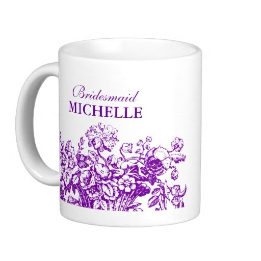 Bridal Shower Favor Floral Basket Purple Coffee Mugs