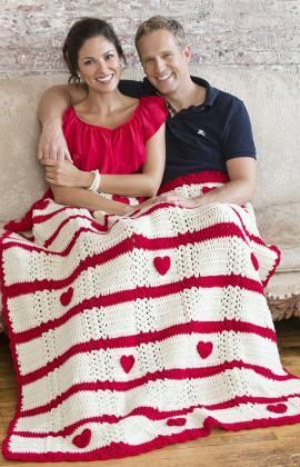 Be My Valentine Throw Free Crochet Pattern from Red Heart Yarns