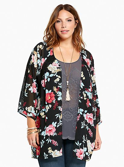 Floral Print Lace Trim Kimono