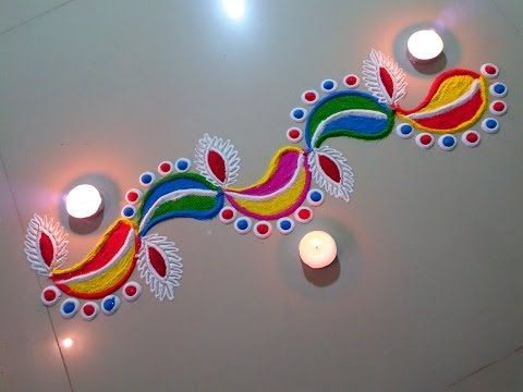 Easy Quick and Creative Deepak rangoli Border design - YouTube
