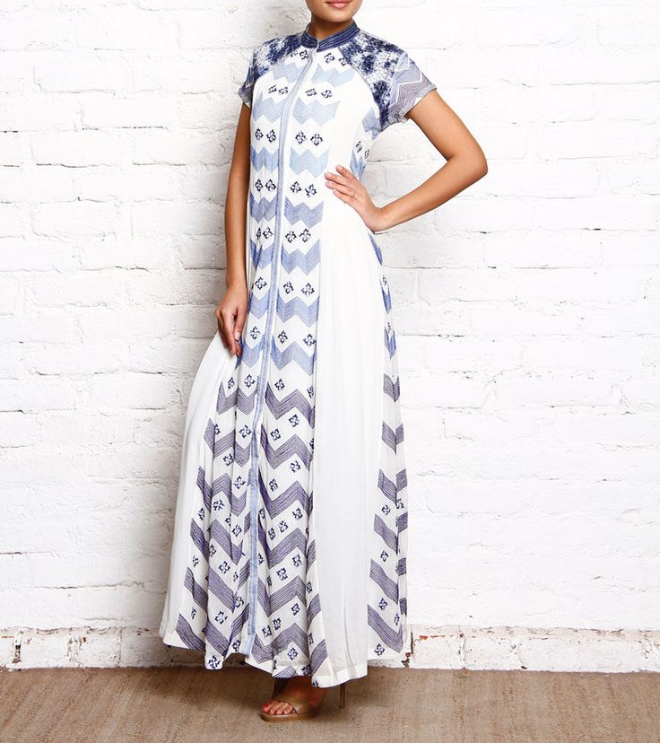 White & Blue Embroidered Georgette Dress