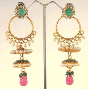 Large Jhumka Earrings | Jhumka Earrings with Bali look by ADIVA ABPOL0CE0020