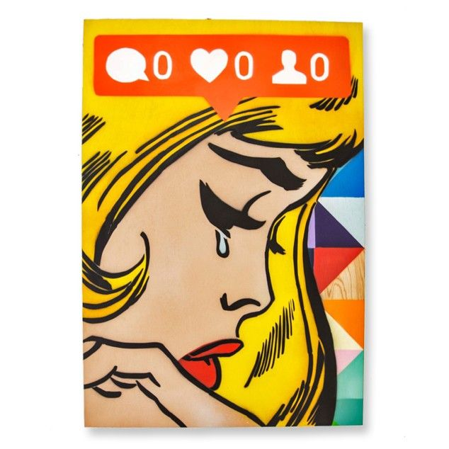 """""""No Likes"""" Original Painting on Boxed Board by Component See here: http://www.endemicworld.com/no-likes-original-painting-on-steel-by-component.html"""