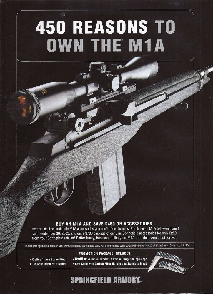 2003 SPRINGFIELD ARMORY M1A RIFLE AD Collectible Advertising