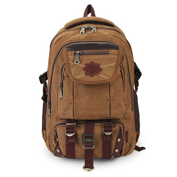 KAUKKO Rivets Zipper Men Backpack Travel Bags Canvas Outdoor Luggage Bag
