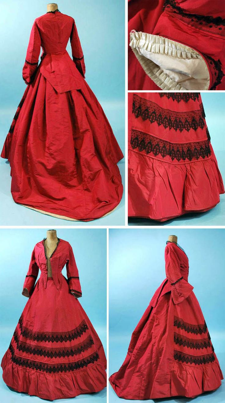 Reception gown ca. 1867. Cranberry silk with dropped & piped bell sleeves lined in white silk & tiny box pleats. Bodice has long tails and stays and is lined in white cotton with waist cincher that closes in front with hook & eye. Trained skirt with tight cartridge pleating at waistband, no closures, completely lined in polished cotton, with windowpane sarcenet at interior hem, trimmed with swags of black Spanish lace. Extant Gowns