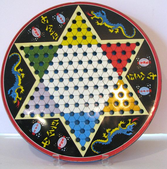 Vintage Chinese Checkers Metal Tin Game  1950s by MolecularModern, $18.00