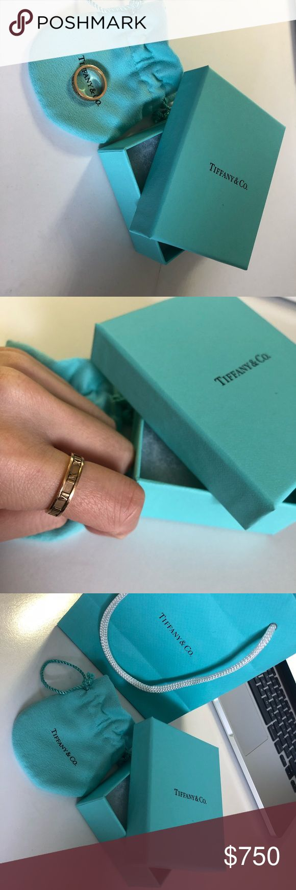 Tiffany&co Atlas Ring Sz6.5 18k RoseGold Tiffany & Co atlas collection rose gold 18k.  Come with og dust bag, box, paper bag.  Bought from Chicago retail store with receipt. Retail price is $975.  Very good condition less than 10 times worn and you can alway bring it to Tiffany store for cleaning.  Contact me if you interested! Tiffany & Co. Jewelry Rings