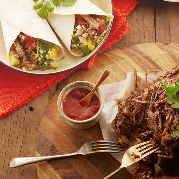 Old El Paso™'s Slow Cooked Shredded Beef Burrito recipe isn't complete without the delicious quinoa salad. It takes 3-4 hours to cook but will serve 4-6 for an impressive Mexican meal! This meal is made easy by using an Old El Paso™ Burrito Kit - just add delicious fresh ingredients like cherry tomatoes and blade roast.