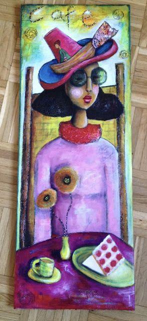 """Cafe Sail Away"" mixed media canvas"