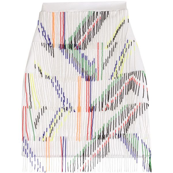 Preen Skirt found on Polyvore featuring skirts, bottoms, white, fringe skirts, fitted skirts, beaded skirt, multicolor skirt and multi colored skirt