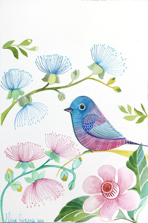 Purple Flowers/ Pink Bird Art / Nursery wall Art/ Room Decor / Original Watercolor / Modern / Simple via Etsy