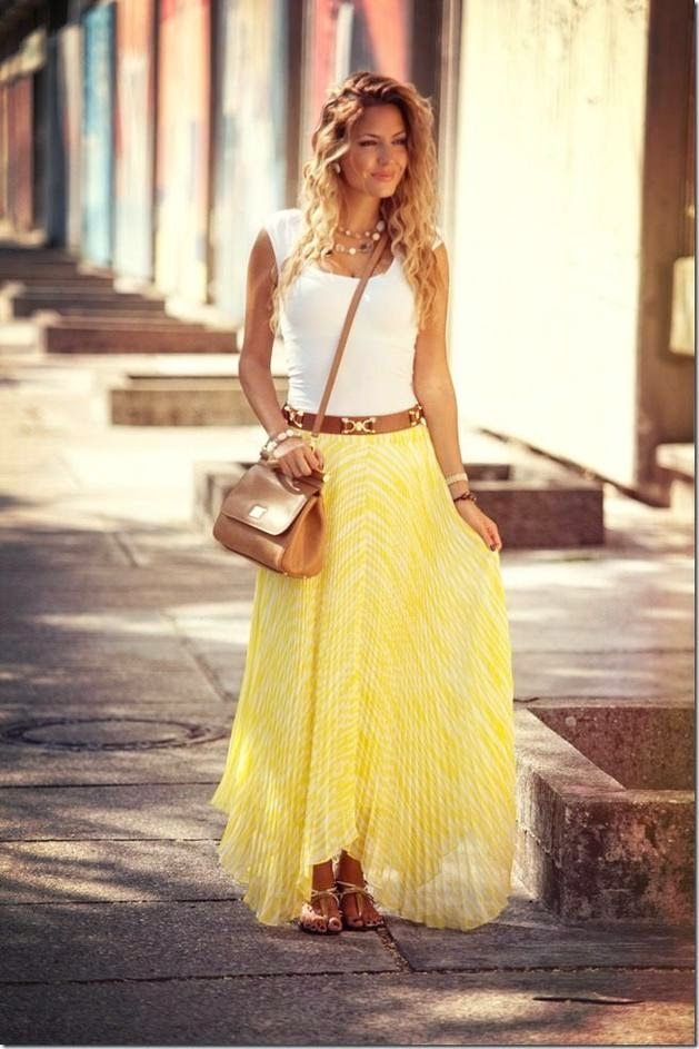 How to be chic ~ a super cute summer outfit // boho chic // yellow skirt