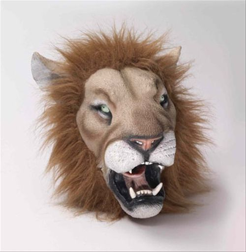 Lion Deluxe Latex Animal Mask - This realistic lion mask is perfect for school plays, community theater productions and Halloween lion costumes. The piercing eyes, fluffy mane and fierce set of teeth are the perfect embodiment of the king of the jungle. This mask will be the focal point of any lion costume. #yyc #costume #animal #mask