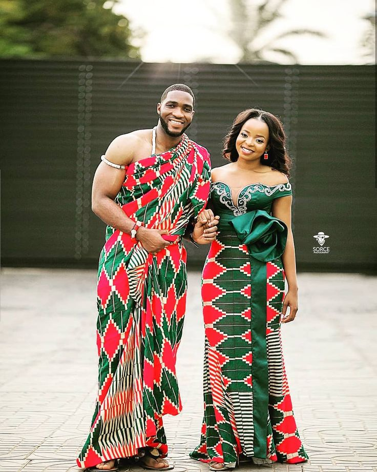 Ghanaian bride and groom in traditional dress for wedding