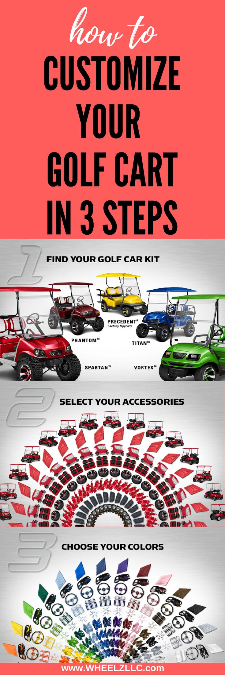 Doubletake golf cart products are designed for EZGO, Club Car, and Yamaha golf carts to color match and customize your DIY custom golf cart project. #customgolfcart #golfcart